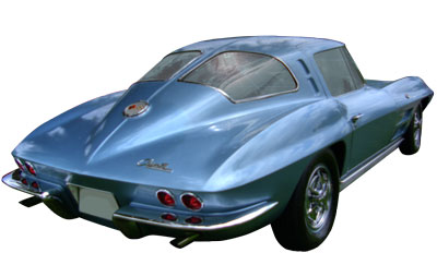 A classic blue 1963 Corvette, featuring the infamous split rear windows.
