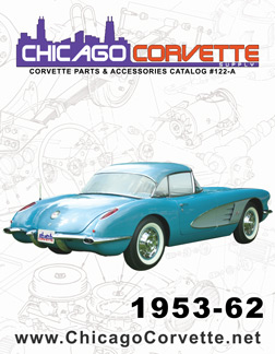 The cover of our 1953-62 Corvette Parts and Accessories catalog, featuring a classic red 1959 Corvette.