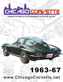 The cover of our 1963-67 Corvette Parts and Accessories catalog, featuring a classic 1963 Corvette with famous split rear windows.